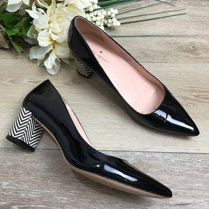 Kate Spade Milan Black Patent Chevron Block Heels